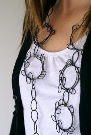 leaf hoop necklace Megan Auman